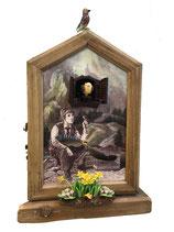 Kuckucksuhr in antiker Holzbox