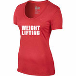 Women's Dri Fit Weightlifting Shirt - hellrot (V-Ausschnitt)