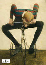 Postkarte: Kunstradfahrer