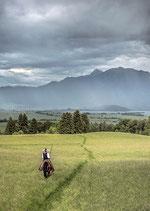 Postkarte: Den Alpen entgegen
