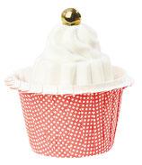 Cupcake Förmchen Punkte rot laminiertes Papier