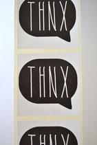 10 Stück Aufkleber THNX schwarz