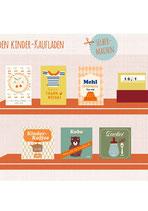 6 Bastelbögen: Verpackungen für den Kaufladen