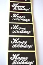 10 Stück Aufkleber Happy Birthday schwarz