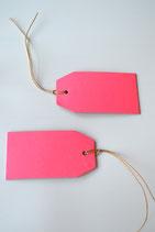 5 Stück Anhänger Kraftpapier neon pink