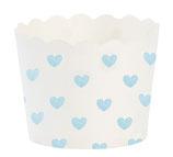 Cupcake Förmchen hellblaue Herzen mit Wellenrand