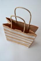 Papiertasche mit Boden Kraftpapier weiß gestreift
