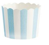 Cupcake Förmchen hellblau gestreift mit Wellenrand