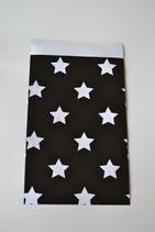Papiertüte flach schwarz mit Sternen