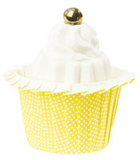Cupcake Förmchen Punkte gelb laminiertes Papier