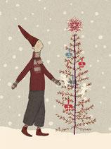 Geschenkanhänger Pixie mit Weihnachtsbaum