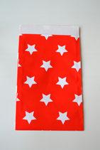 Papiertüte flach rot mit Sternen