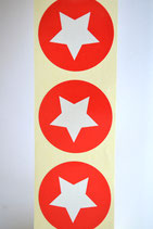 10 Stück Aufkleber Stern rot