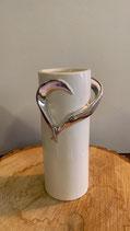 Vase céramique coeur argenté