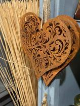Coeur métal effet rouille 15 cm