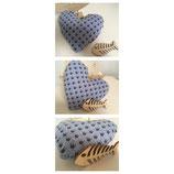Arven-Herzkissen mit Baumwoll- oder Jerseybezug. ca 20 cm gross