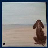 Wandfliese: Bedruckte Kacheln - Hund - on the beach