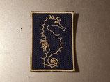 Aufnäher rechteckig Seepferdchen dunkelblau