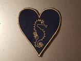 Aufnäher Seepferdchen Herz dunkelblau