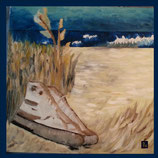 Wandfliese: Bedruckte Kacheln - Shoes - on the beach