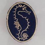 Sticker - Aufnäher - Seepferdchen - Goldstickerei auf Dunkelblau