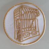 Sticker - Aufnäher - Strandkorb - Goldstickerei auf Weiß