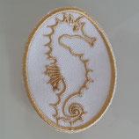 Aufnäher - Seepferdchen - Goldstickerei auf Weiß - Sticker - Patches