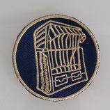 Aufnäher - Strandkorb - Goldstickerei auf Dunkelblau - Sticker - Patches