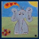 Wandfliese: Bedruckte Kacheln - Elefant - in love
