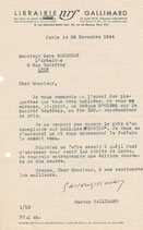 Gaston Gallimard lettre signée