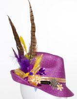 Clamare Trachtenhut lila/gelb