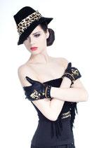 Clamare leather gloves black/tiger