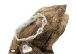 Bracelet Adronie coton Oeko-tex blanc et rocailles vert transparent