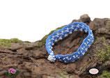 Bracelet au crochet Aerin simple rang, coton  bleu turquoise et Rocailles de Bohème blanches
