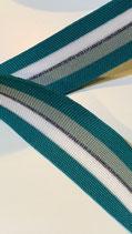 Gestricktes Band querelastisch , smaragd,weiss,silber,graugrün