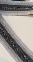 Gestricktes Band querelastisch, grau, dunkelgrau, silber