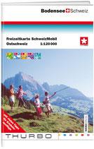 Freizeitkarte Ostschweiz mit Fürstentum Liechtenstein