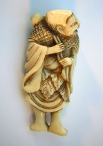 992 Netsuke Katabori 形彫 Chokwaro Sennin mit Kürbistrinkflasche