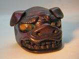 2381 Netsuke Katabori 形彫 Shishi Maske Holz