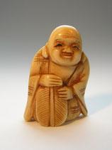 2302 Lady-Netsuke Katabori 形彫 Hotei mit Fächer