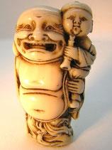 2369 Netsuke Katabori 形彫 Hotei mit Karako maritimes Elfenbein