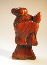 2200 Netsuke Katabori 形彫 Holz Affe im Kimono