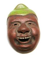 2343 Netsuke Katabori Ebisu Maske Ceramic