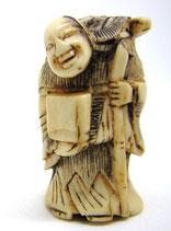2314 Netsuke Katabori 形彫 Wandermönch mit Minogame