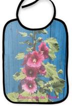 Bavoir trémières roses et bleu