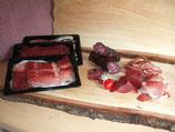 """Paket """"Büezer"""", enthält geschnittener Rohess Speck, Rohschinken, Trockenfleisch und eine Dauerwurst am Stück (Paketpreis)"""