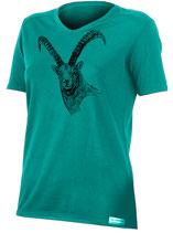 Damen Steinbock T-Shirt-Petrol-Design by P. Meile