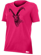 Damen Steinbock T-Shirt-Bright Red-Design by P. Meile