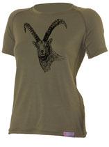 Damen Steinbock T-Shirt-Dunkel Grün-Design by P. Meile