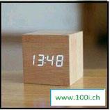 Holz Wecker Würfel / LED Technik